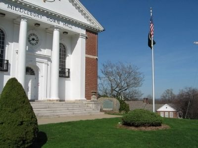 Middlebury Veterans Memorial and Middlebury Town Hall image. Click for full size.