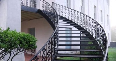 Steel Staircase Leading to Second Story Balcony<br>Not Original to the Building image. Click for full size.