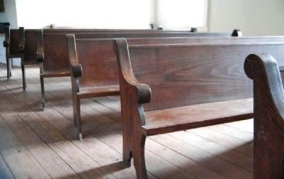 Wooden Pews in Second Story Chapel image. Click for full size.