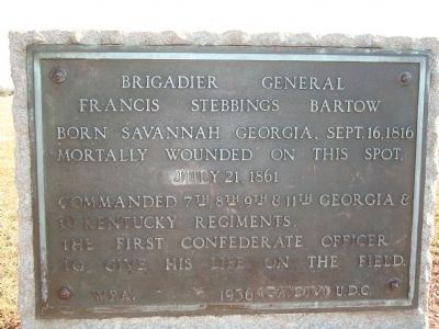 Brigadier General Francis Stebbings Bartow Marker (Readable) image. Click for full size.