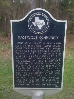 Hagerville Community Marker image. Click for full size.