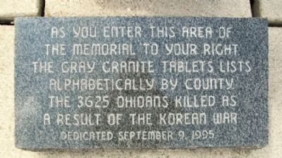 State of Ohio Korean War Memorial Listing image. Click for full size.