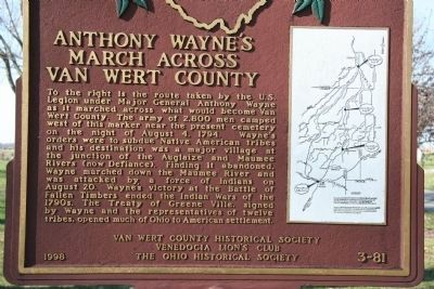 Anthony Wayne's March Across Van Wert County Marker image. Click for full size.