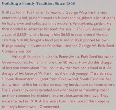 Park's -<br>Building a Family Tradition Since 1868 image. Click for full size.