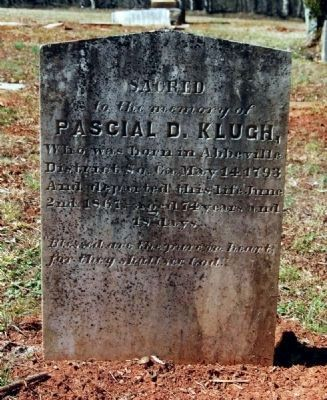 Pascal D. Klugh (1793-1867)<br>Tombstone image. Click for full size.