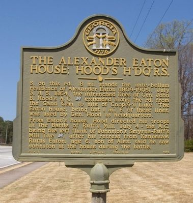 The Alexander Eaton House: Hood's Headquarters Marker image. Click for full size.