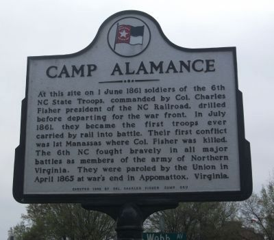 Camp Alamance Marker image. Click for full size.