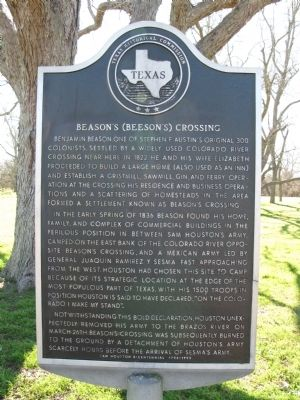 Beason's (Beeson's) Crossing Marker image. Click for full size.