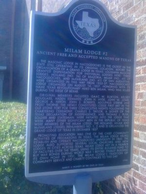 Milam Lodge #2, Ancient Free and Accepted Masons of Texas Marker image. Click for full size.