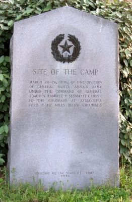 Site of the Camp of Gen. Joaquín Ramírez y Sesma Marker image. Click for full size.