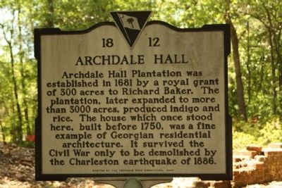 Archdale Hall Marker image. Click for full size.