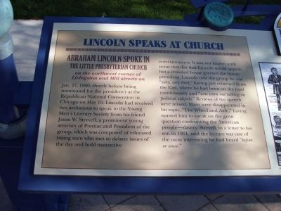 Left Section - - Lincoln Speaks at Church Marker image. Click for full size.