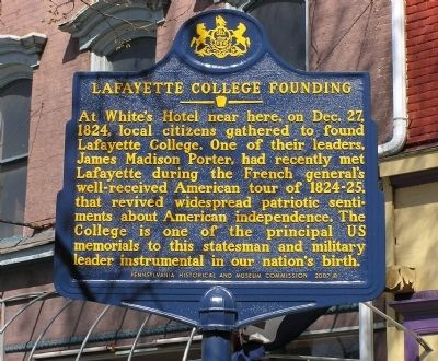 Lafayette College Founding Marker image. Click for full size.