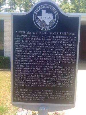 Angelina & Neches River Railroad Marker image. Click for full size.