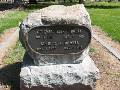 John and Annie K. Bidwell Headstone image. Click for full size.