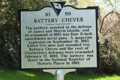Battery Cheves Marker, reverse side image. Click for full size.
