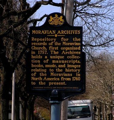 Moravian Archives Marker image. Click for full size.