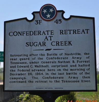 Confederate Retreat at Sugar Creek Marker image. Click for full size.