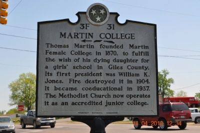 Martin College Marker image. Click for full size.