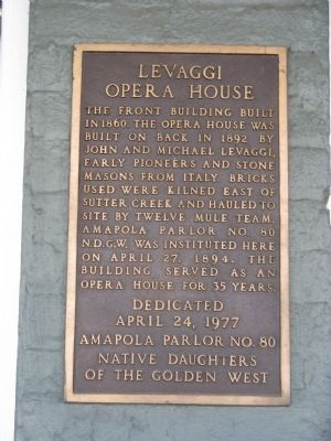 Levaggi Opera House Marker image. Click for full size.