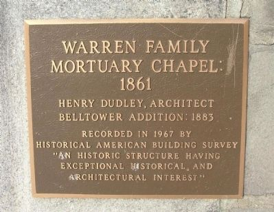 Warren Family Mortuary Chapel: 1861 Marker image. Click for full size.