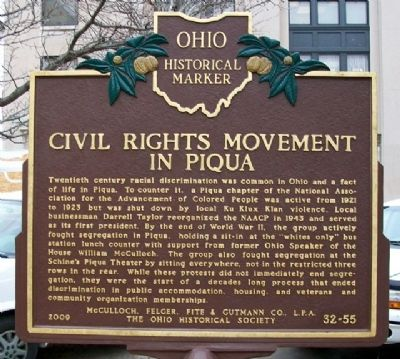 Civil Rights Movement in Piqua Marker (Side B) image. Click for full size.