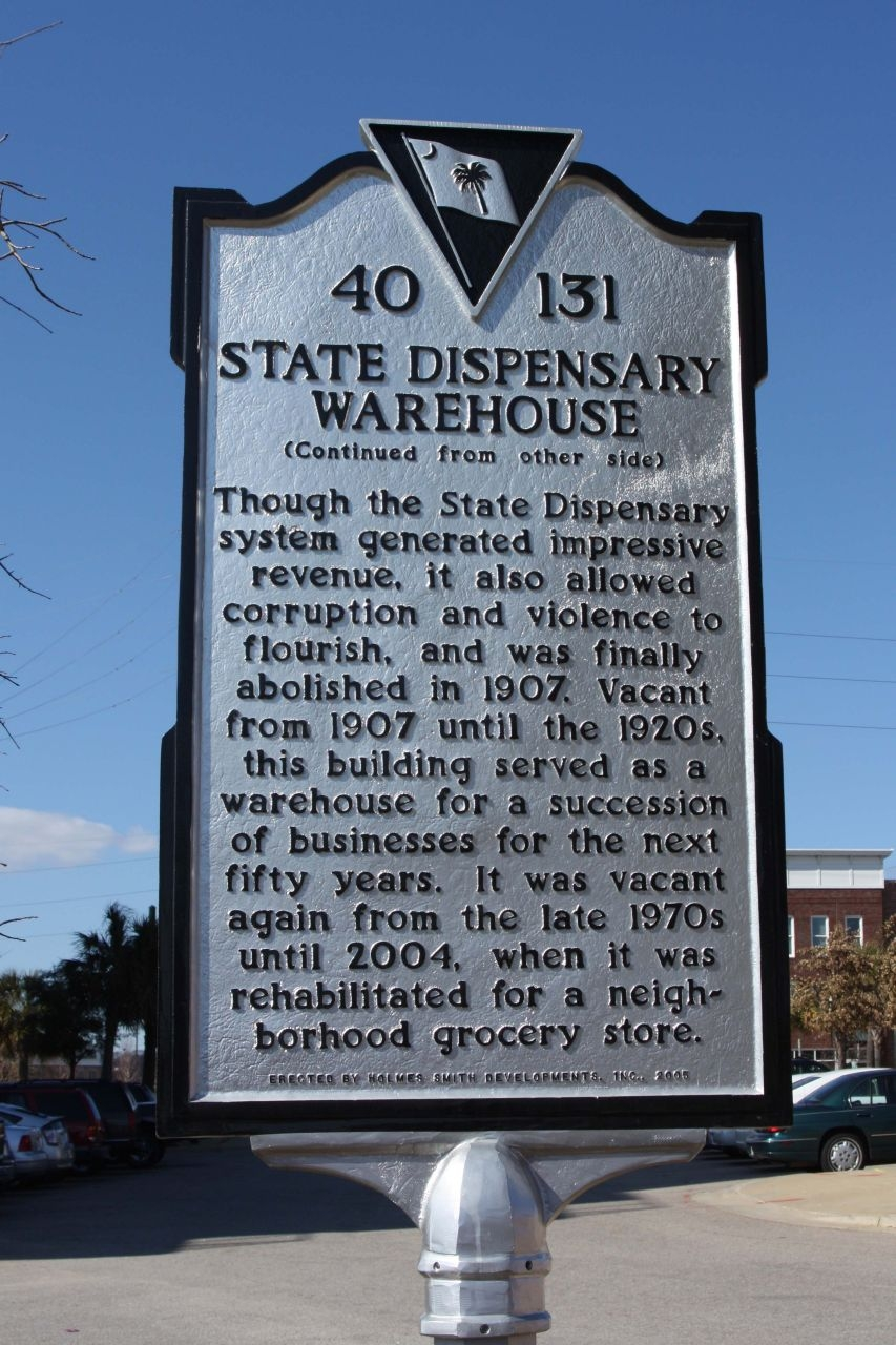 State Dispensary Warehouse Marker, reverse side