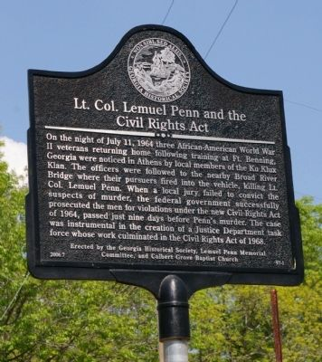 Lt. Col. Lemuel Penn and the Civil Rights Act Marker image. Click for full size.