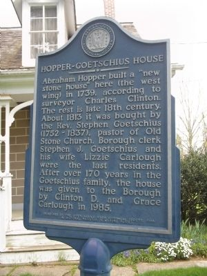 Hopper-Goetschius House Marker image. Click for full size.