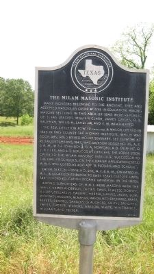 Milam Masonic Institute Marker image. Click for full size.