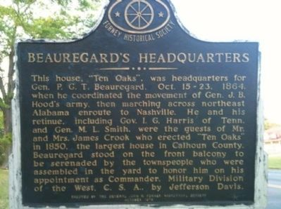 Beauregard's Headquarters Marker image. Click for full size.