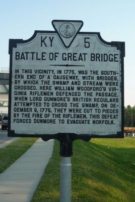 Battle of Great Bridge Marker image. Click for full size.