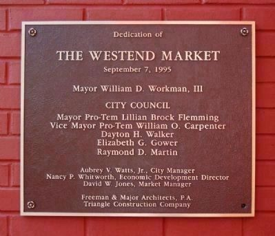 West End Dedication Plaque -<br>Located Near the Southern Entrance image. Click for full size.