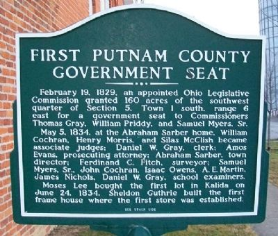 First Putnam County Government Seat Marker (Side A) image. Click for full size.