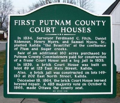 First Putnam County Court Houses Marker (Side B) image. Click for full size.