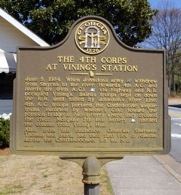 The 4th Corps at Vining's Station Marker image. Click for full size.