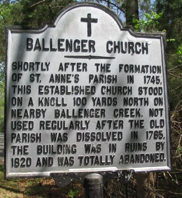 Ballenger Church Marker image. Click for full size.