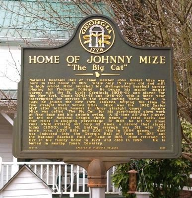 Home of Johnny Mize Marker image. Click for full size.