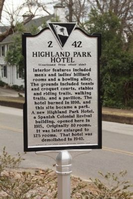 Highland Park Hotel Marker, reverse side image. Click for full size.