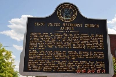 First United Methodist Church Jasper Marker/Side 1 image. Click for full size.