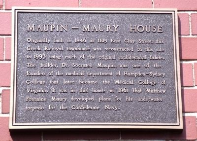 Maupin - Maury House Marker image. Click for full size.