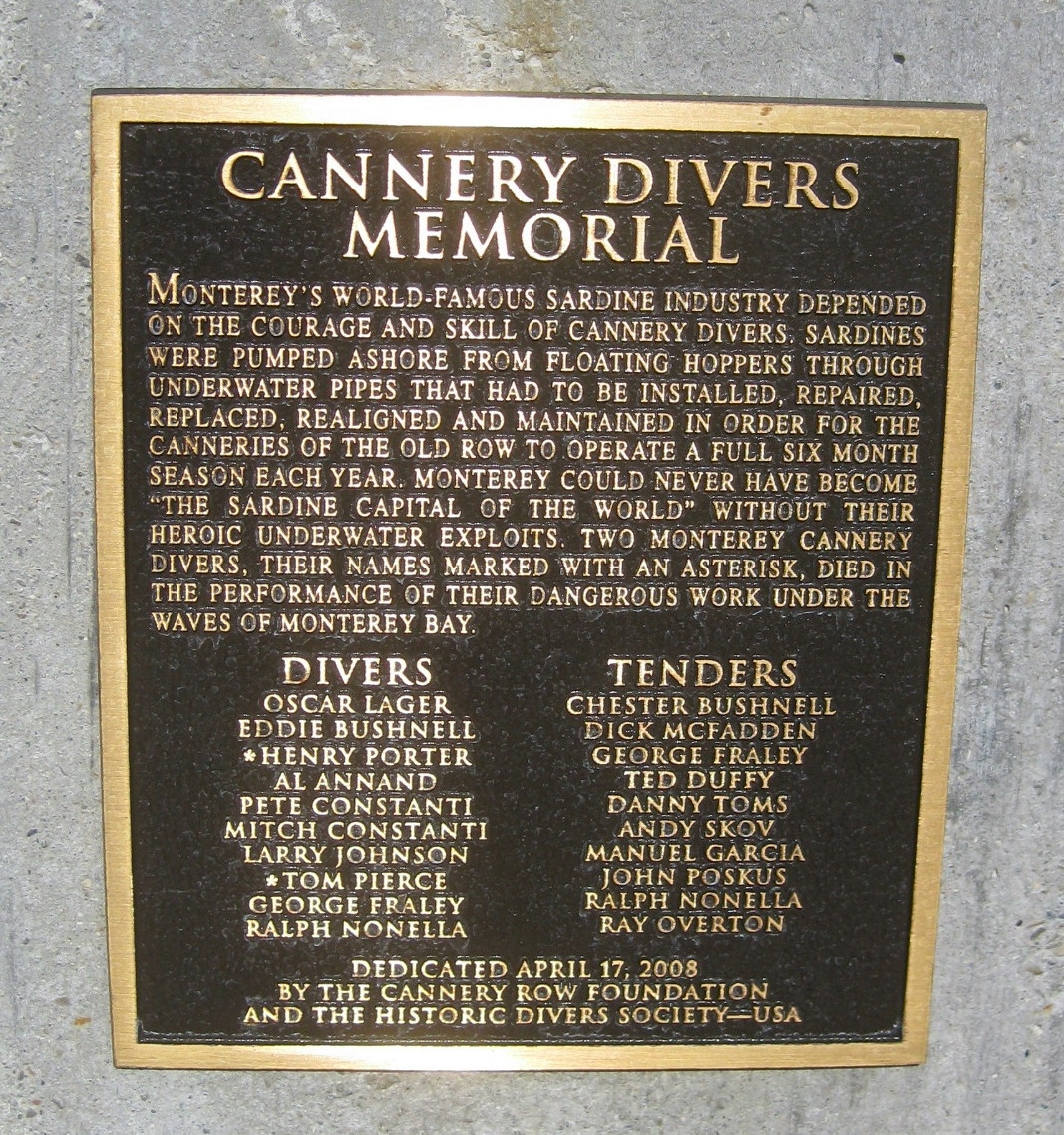 Cannery Divers Memorial Marker