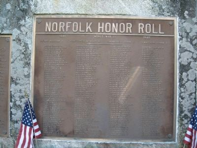 Norfolk Honor Roll - WW II Plaque image. Click for full size.