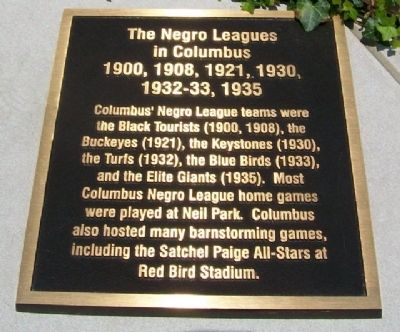 The Negro Leagues in Columbus Marker image. Click for full size.