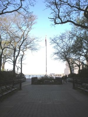 Marker on the Brooklyn Heights Promenade image. Click for full size.