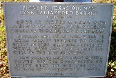 PIONEER TEXAS OIL MAN Marker image. Click for full size.