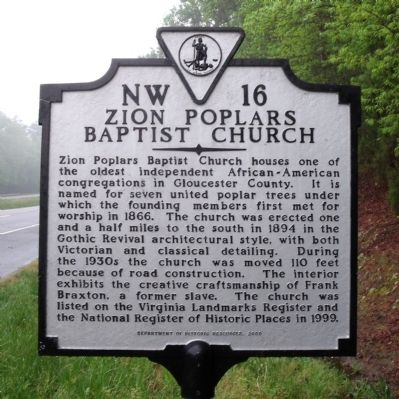 Zion Poplars Baptist Church Marker image. Click for full size.