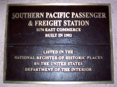 Southern Pacific Passenger & Freight Station Marker image. Click for full size.