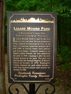 Lizard Mound Park Marker image. Click for full size.