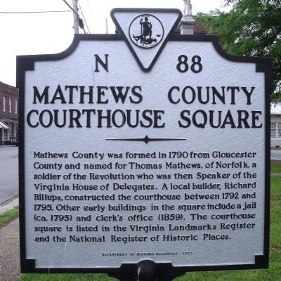 Mathews County Courthouse Square Marker image. Click for full size.